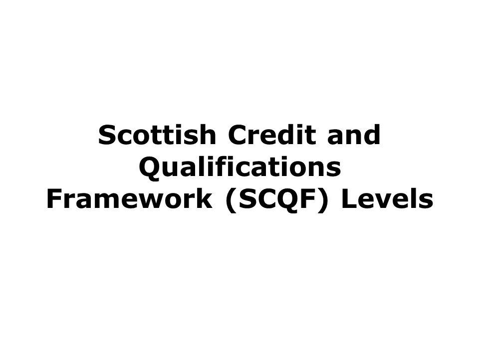 Scottish Credit and Qualifications Framework (SCQF) Levels