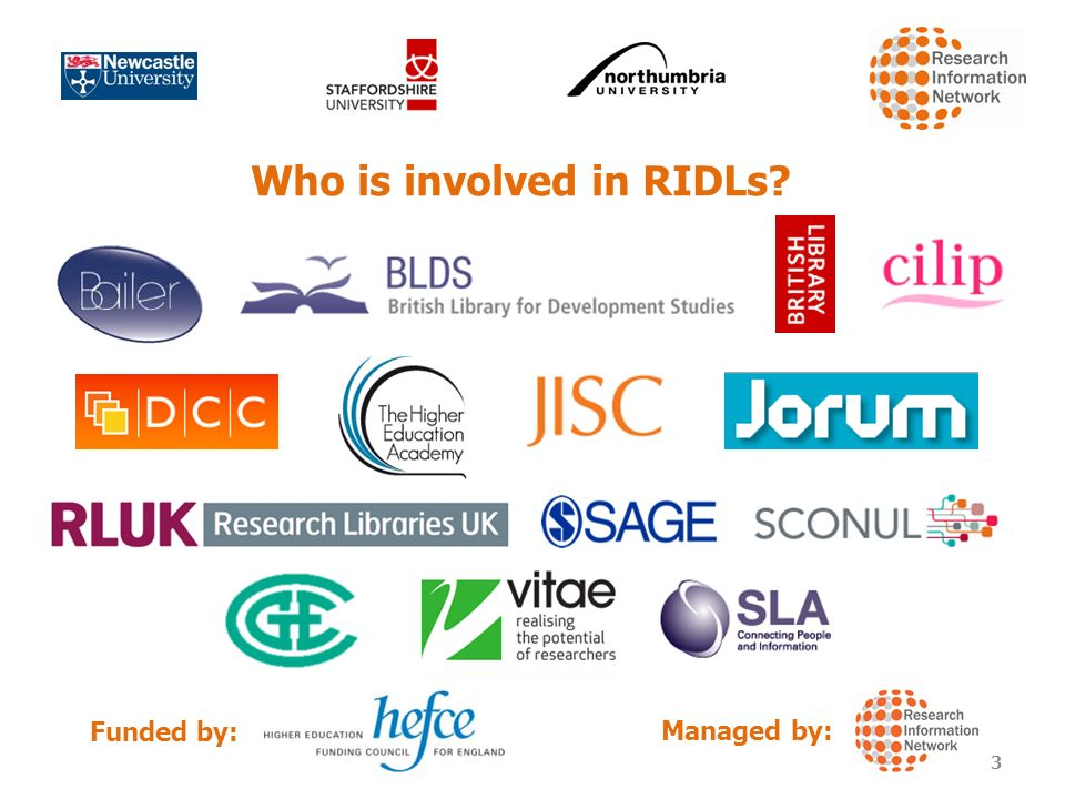 Who is involved in RIDLs Funded by: Managed by: 3