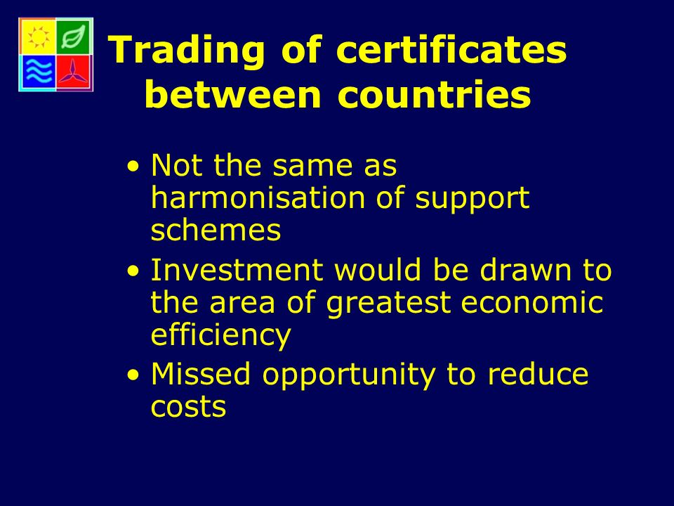 Trading of certificates between countries Not the same as harmonisation of support schemes Investment would be drawn to the area of greatest economic efficiency Missed opportunity to reduce costs