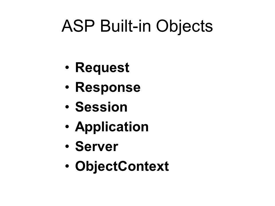 ASP Built-in Objects Request Response Session Application Server ObjectContext