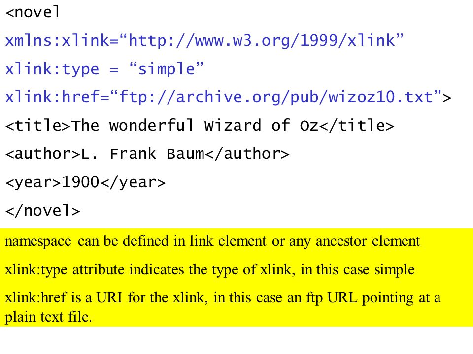 <novel xmlns:xlink=http://www.w3.org/1999/xlink xlink:type = simple xlink:href=ftp://archive.org/pub/wizoz10.txt> The wonderful Wizard of Oz L.