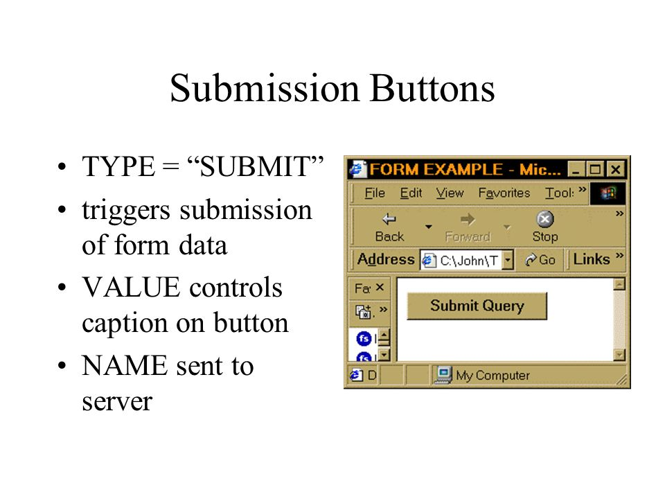 Submission Buttons TYPE = SUBMIT triggers submission of form data VALUE controls caption on button NAME sent to server
