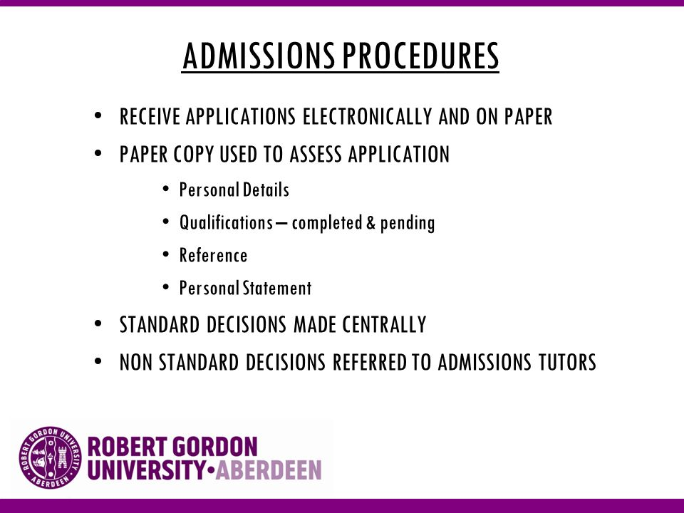 ADMISSIONS PROCEDURES SCHEDULE INTERVIEWS RESEARCH ENTRY CRITERIA UK – Advanced Diplomas, BTEC, NQS, Baccalaureates EU – Poland, Romania, Lithuania, Bulgaria INTERNATIONAL- USA, Canada, Malaysia, India CHECK & PROCESS OFFERS Ensure consistency of offer Adhere to UCAS guidelines