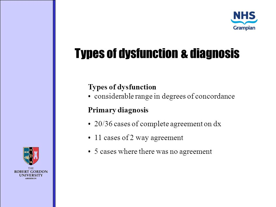 Types of dysfunction & diagnosis Types of dysfunction considerable range in degrees of concordance Primary diagnosis 20/36 cases of complete agreement on dx 11 cases of 2 way agreement 5 cases where there was no agreement
