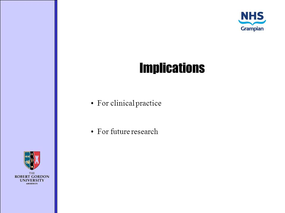 Implications For clinical practice For future research