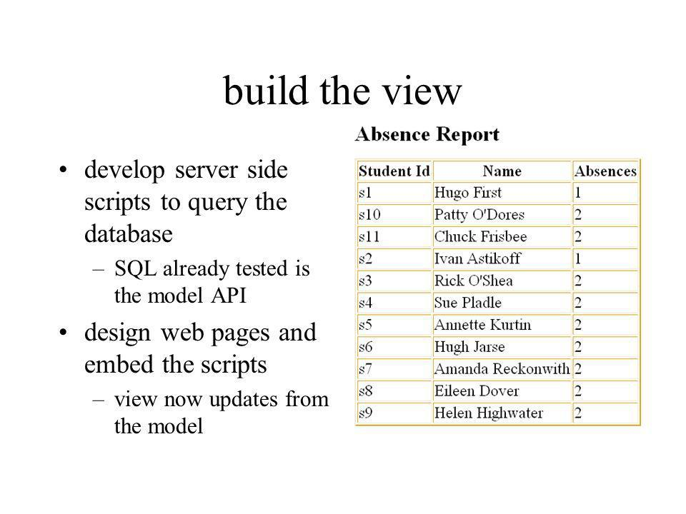 build the view develop server side scripts to query the database –SQL already tested is the model API design web pages and embed the scripts –view now updates from the model