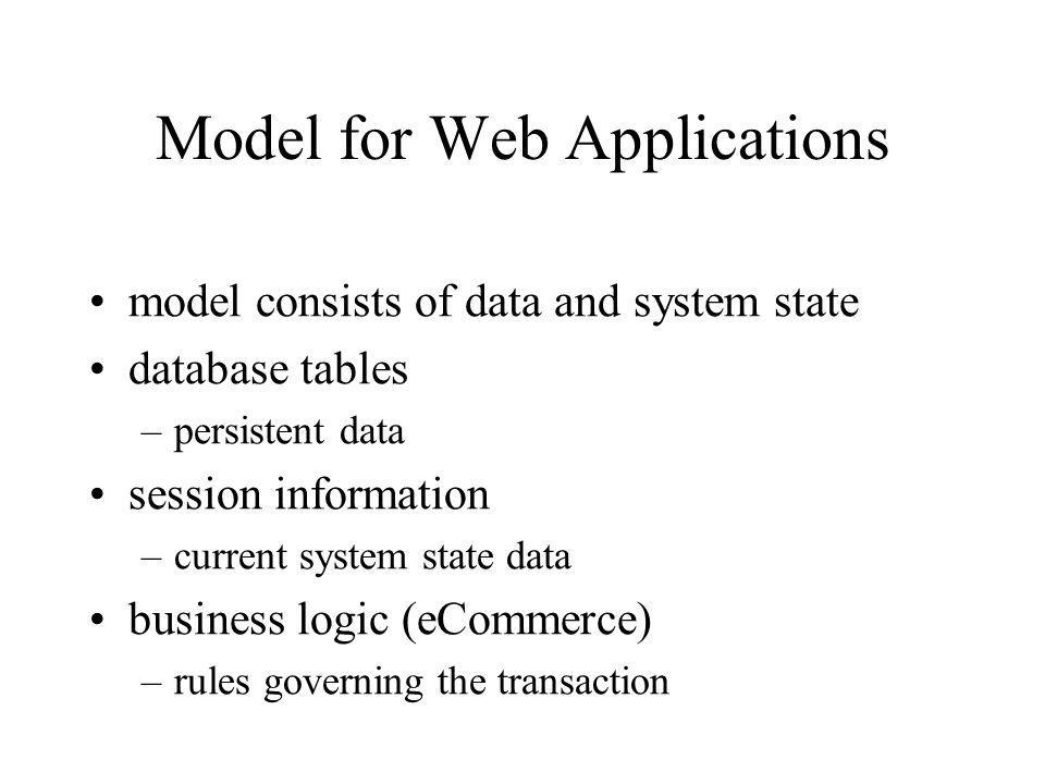 Model for Web Applications model consists of data and system state database tables –persistent data session information –current system state data business logic (eCommerce) –rules governing the transaction