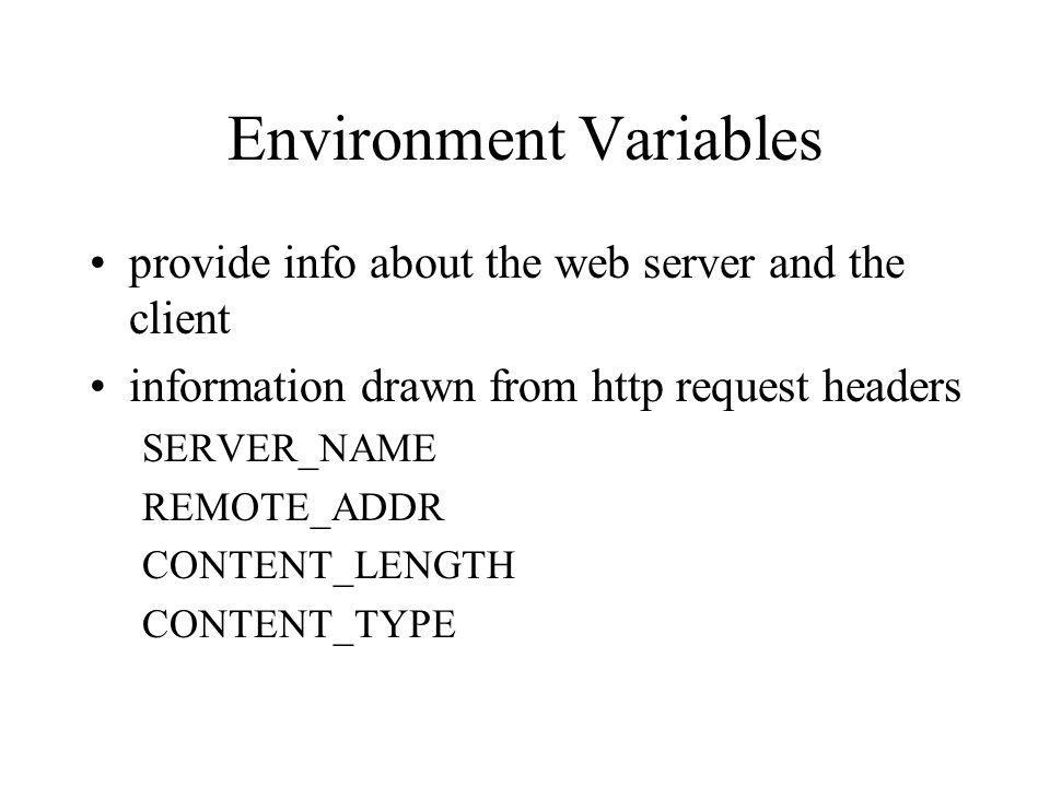 Environment Variables provide info about the web server and the client information drawn from http request headers SERVER_NAME REMOTE_ADDR CONTENT_LEN