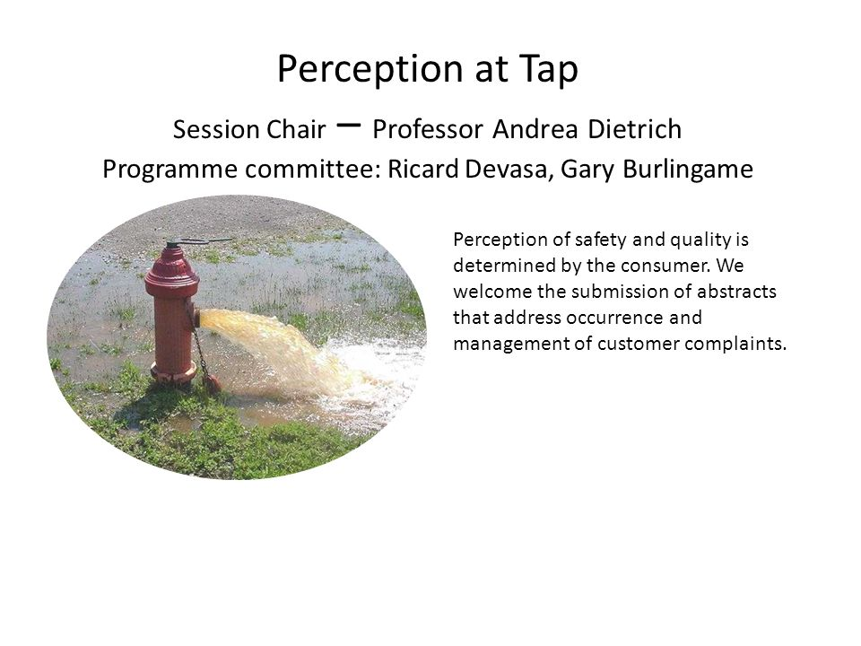 Perception at Tap Session Chair – Professor Andrea Dietrich Programme committee: Ricard Devasa, Gary Burlingame Perception of safety and quality is determined by the consumer.
