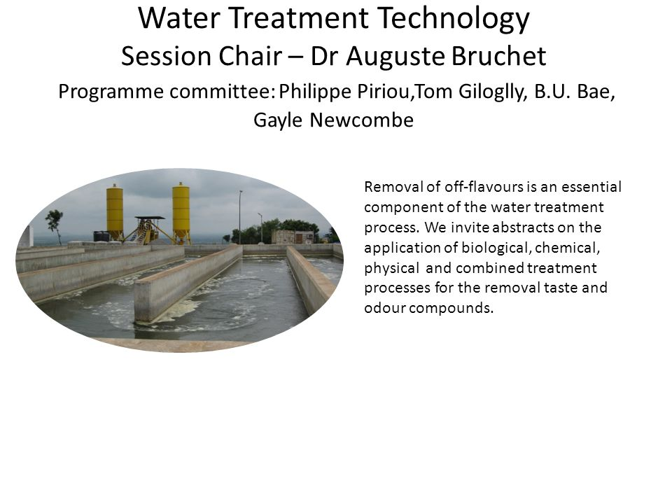 Water Treatment Technology Session Chair – Dr Auguste Bruchet Programme committee: Philippe Piriou,Tom Giloglly, B.U.
