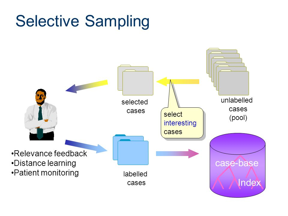 Selective Sampling selected cases labelled cases select interesting cases unlabelled cases (pool) Index case-base Relevance feedback Distance learning
