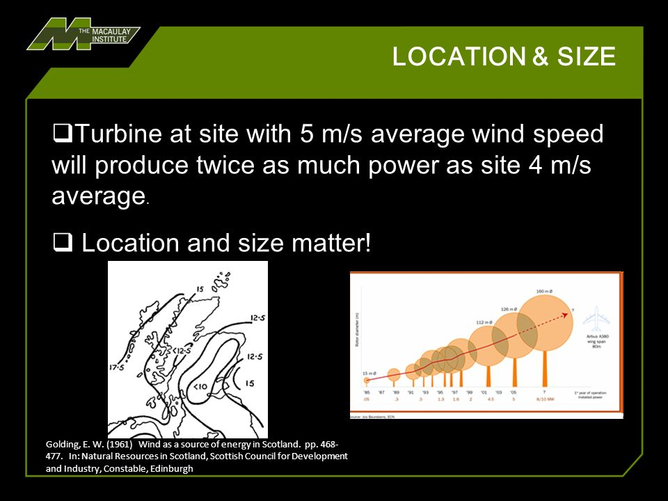 LOCATION & SIZE Turbine at site with 5 m/s average wind speed will produce twice as much power as site 4 m/s average. Location and size matter! Goldin