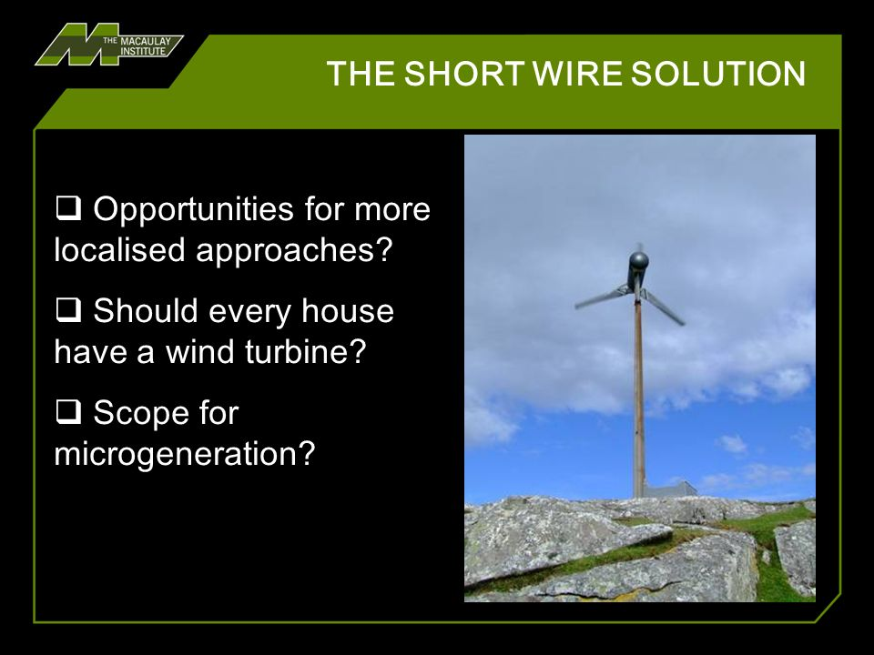 THE SHORT WIRE SOLUTION 16,850 pylons Microgeneration generation of electricity and/or heat on a small scale using technologies with zero or low carbon dioxide emissions (SE 2007)