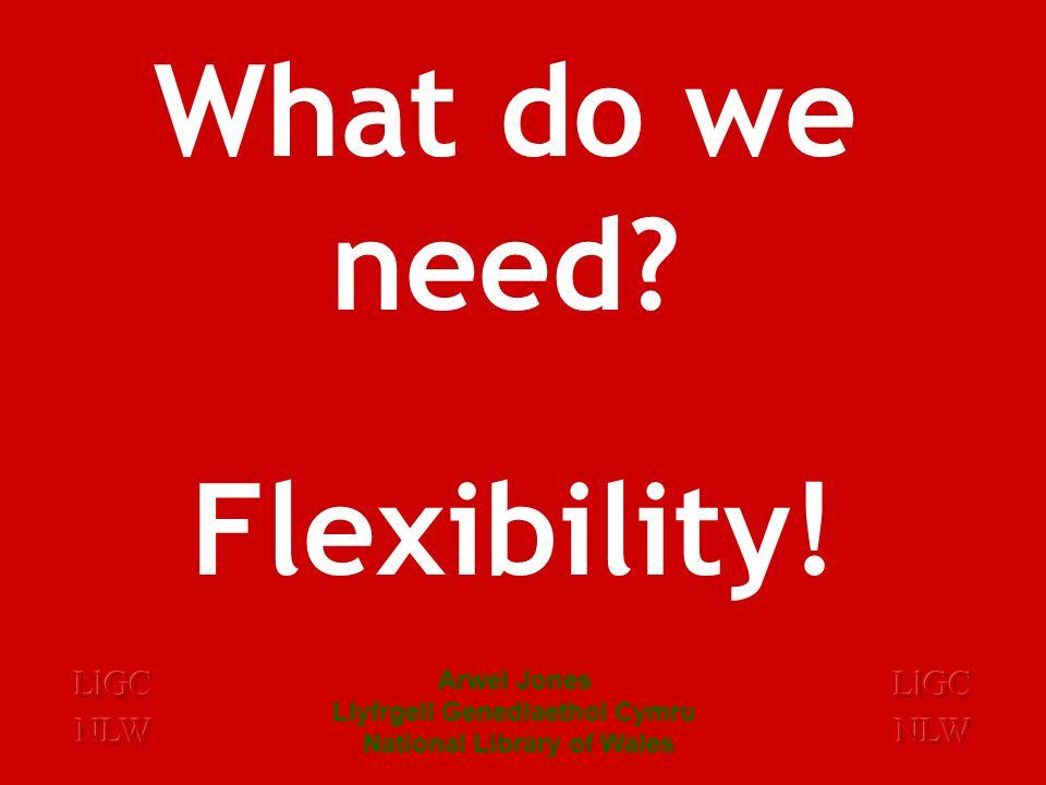 What do we need Flexibility! Arwel Jones Llyfrgell Genedlaethol Cymru National Library of Wales