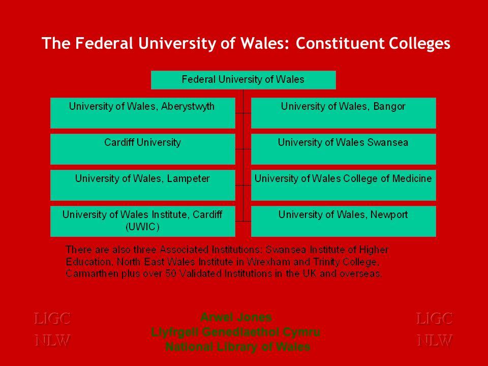 Arwel Jones Llyfrgell Genedlaethol Cymru National Library of Wales Changes to Higher Education in Wales The University of Glamorgan Cardiff University New Universities
