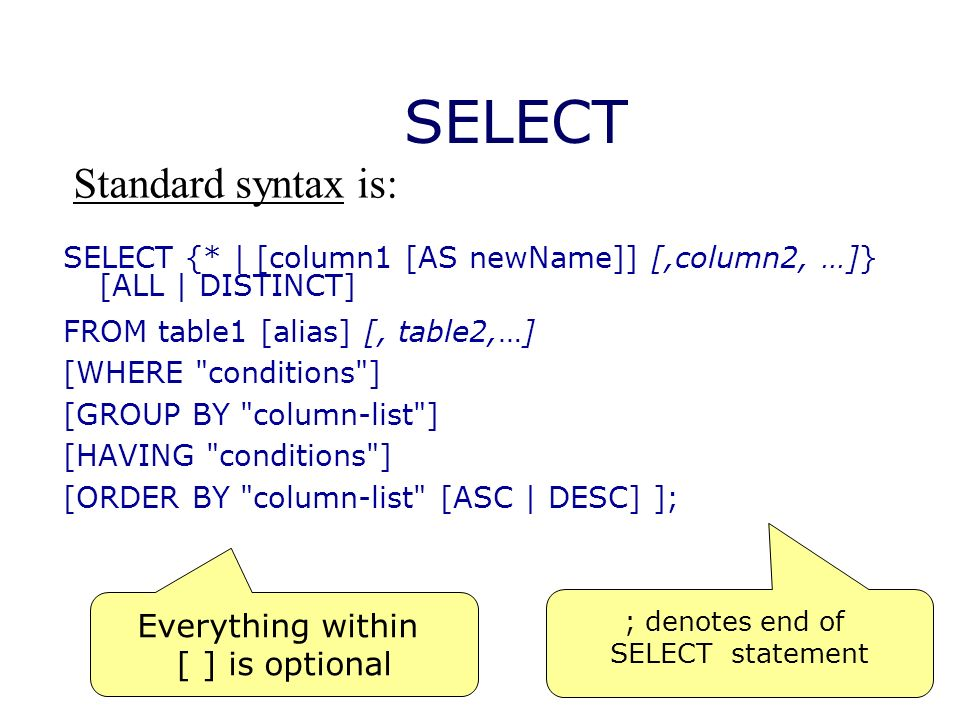 SELECT SELECT {* | [column1 [AS newName]] [,column2, …]} [ALL | DISTINCT] FROM table1 [alias] [, table2,…] [WHERE conditions ] [GROUP BY column-list ] [HAVING conditions ] [ORDER BY column-list [ASC | DESC] ]; Everything within [ ] is optional Standard syntax is: ; denotes end of SELECT statement