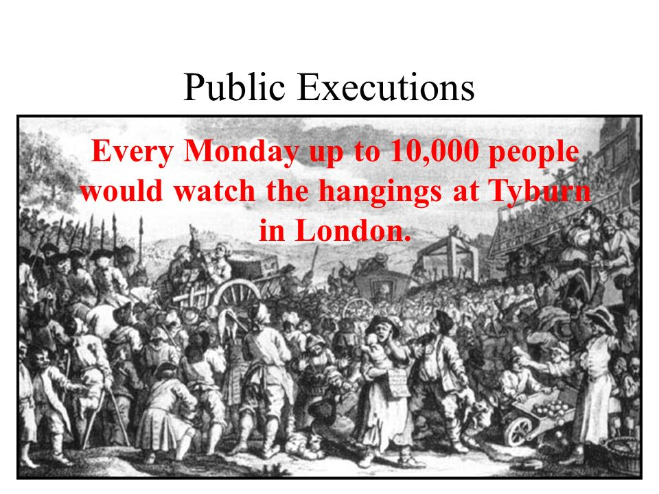 Public Executions Every Monday up to 10,000 people would watch the hangings at Tyburn in London.