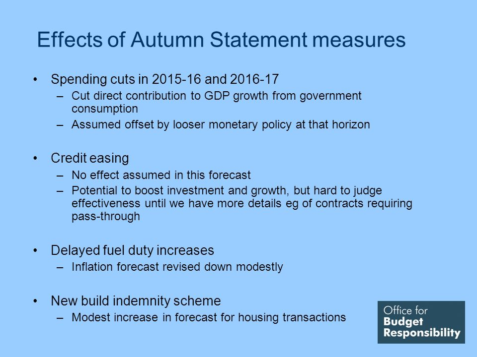 Effects of Autumn Statement measures Spending cuts in and –Cut direct contribution to GDP growth from government consumption –Assumed offset by looser monetary policy at that horizon Credit easing –No effect assumed in this forecast –Potential to boost investment and growth, but hard to judge effectiveness until we have more details eg of contracts requiring pass-through Delayed fuel duty increases –Inflation forecast revised down modestly New build indemnity scheme –Modest increase in forecast for housing transactions