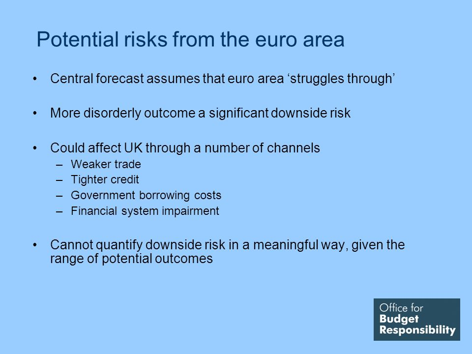Potential risks from the euro area Central forecast assumes that euro area struggles through More disorderly outcome a significant downside risk Could affect UK through a number of channels –Weaker trade –Tighter credit –Government borrowing costs –Financial system impairment Cannot quantify downside risk in a meaningful way, given the range of potential outcomes