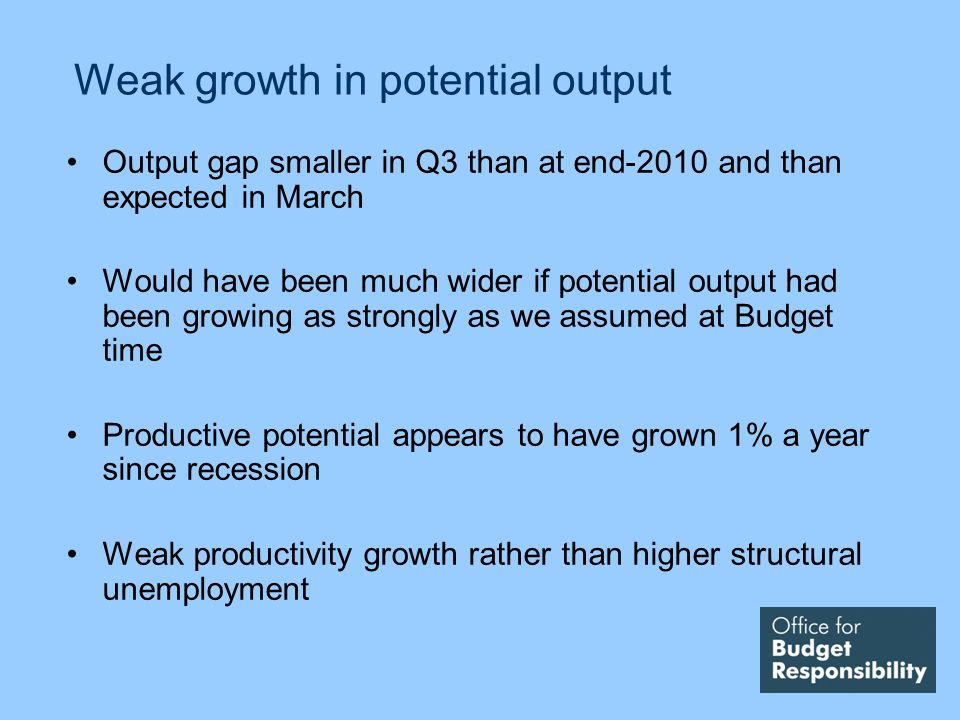 Weak growth in potential output Output gap smaller in Q3 than at end-2010 and than expected in March Would have been much wider if potential output had been growing as strongly as we assumed at Budget time Productive potential appears to have grown 1% a year since recession Weak productivity growth rather than higher structural unemployment