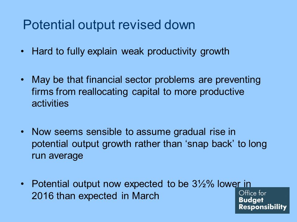 Potential output revised down Hard to fully explain weak productivity growth May be that financial sector problems are preventing firms from reallocat