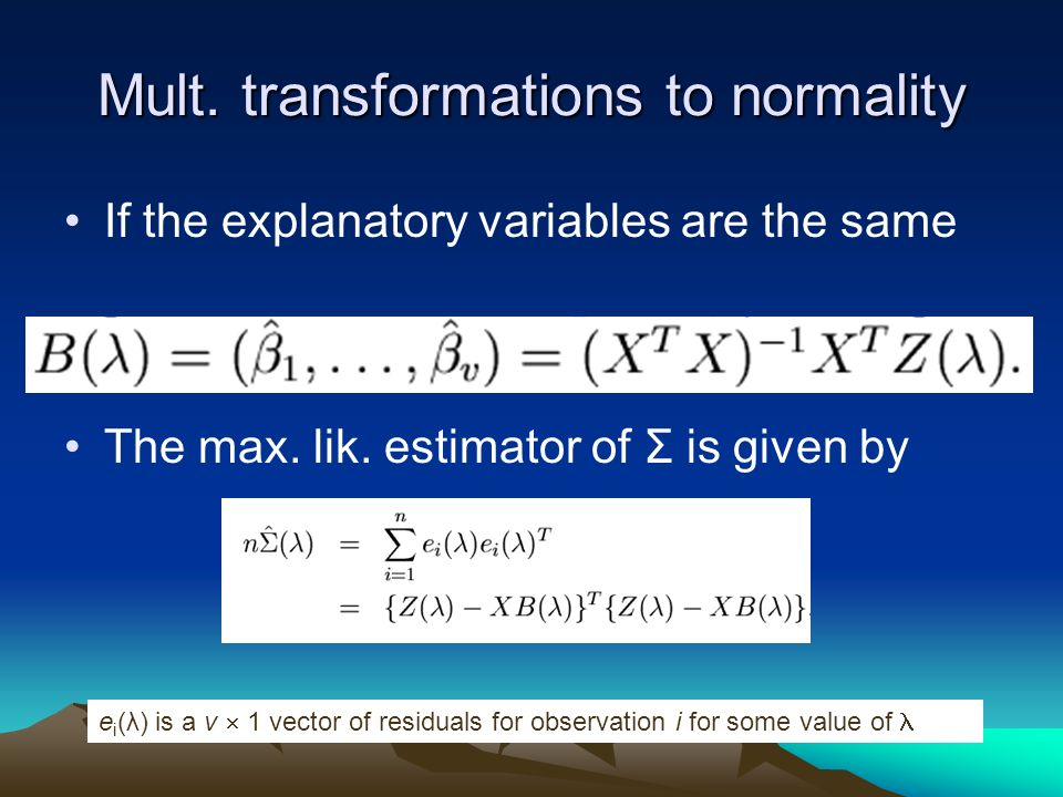 Suggested procedure for finding multivariate transformations Run the FS through untransformed data, ordering the observations at each m by MD calculated from untransformed observations.