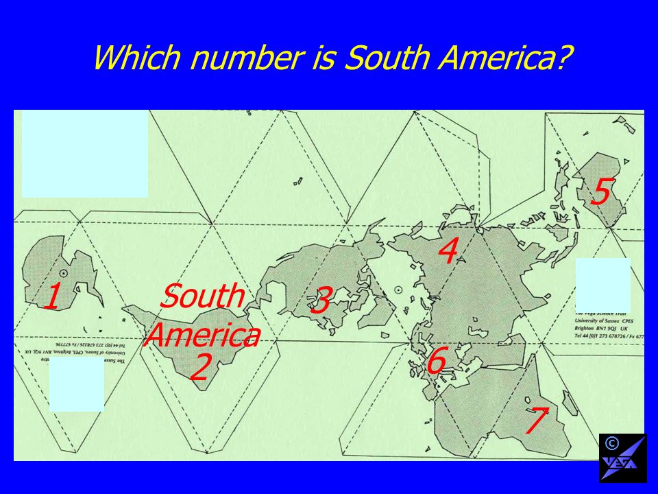 Which number is South America 1 2 3 4 6 5 7 South America ©