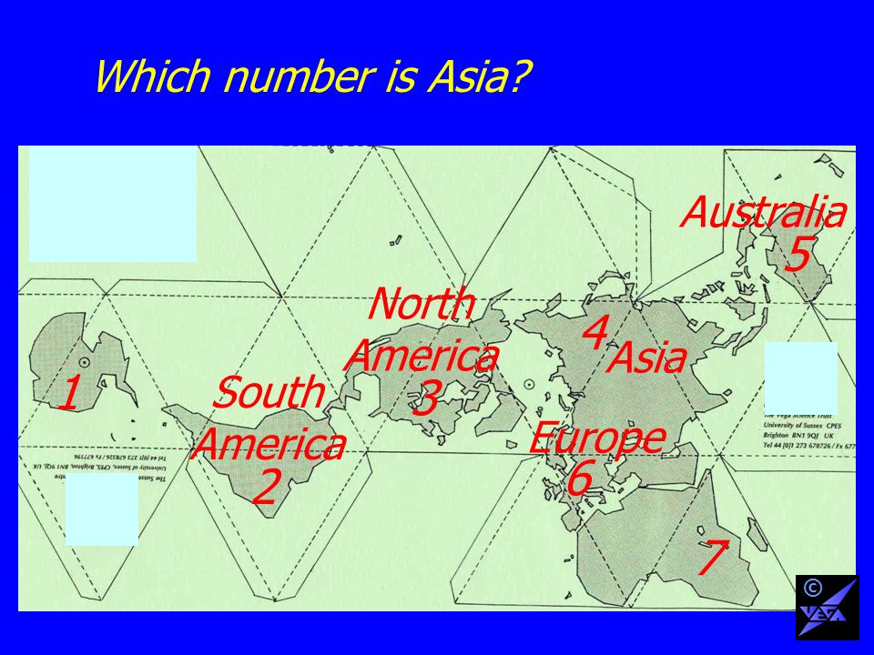 Which number is Asia 1 2 3 4 6 5 7 South America Australia North America Europe Asia ©