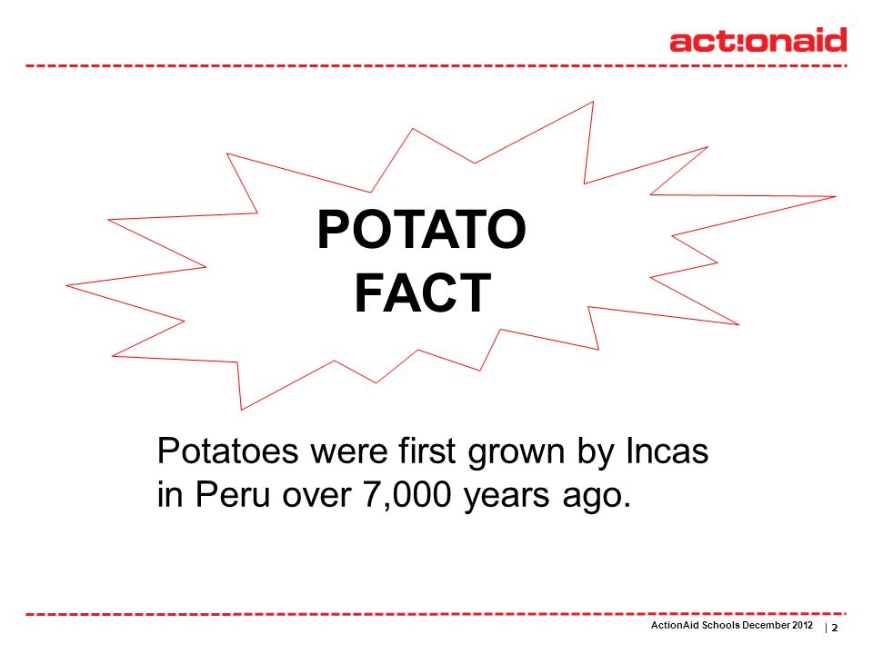 ActionAid schools | DATE | 2 POTATO FACT Potatoes were first grown by Incas in Peru over 7,000 years ago.