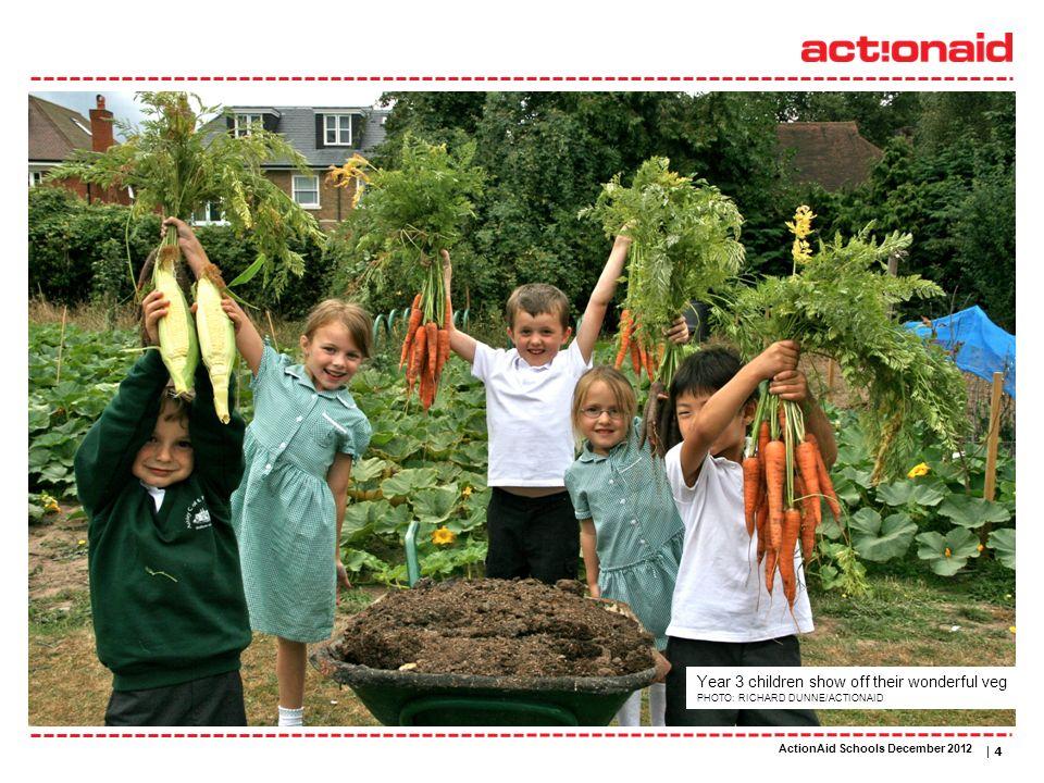 ActionAid schools | DATE | 4 Year 3 children show off their wonderful veg PHOTO: RICHARD DUNNE/ACTIONAID ActionAid Schools December 2012