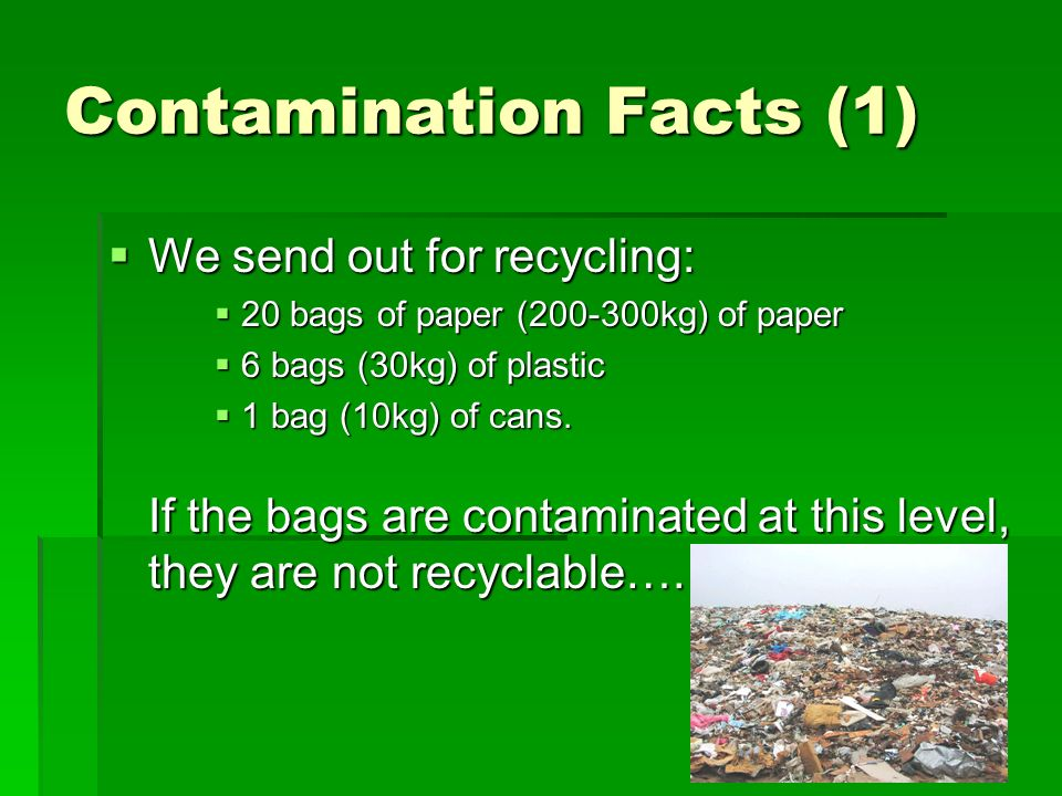 Contamination Facts (1) We send out for recycling: We send out for recycling: 20 bags of paper (200-300kg) of paper 20 bags of paper (200-300kg) of pa
