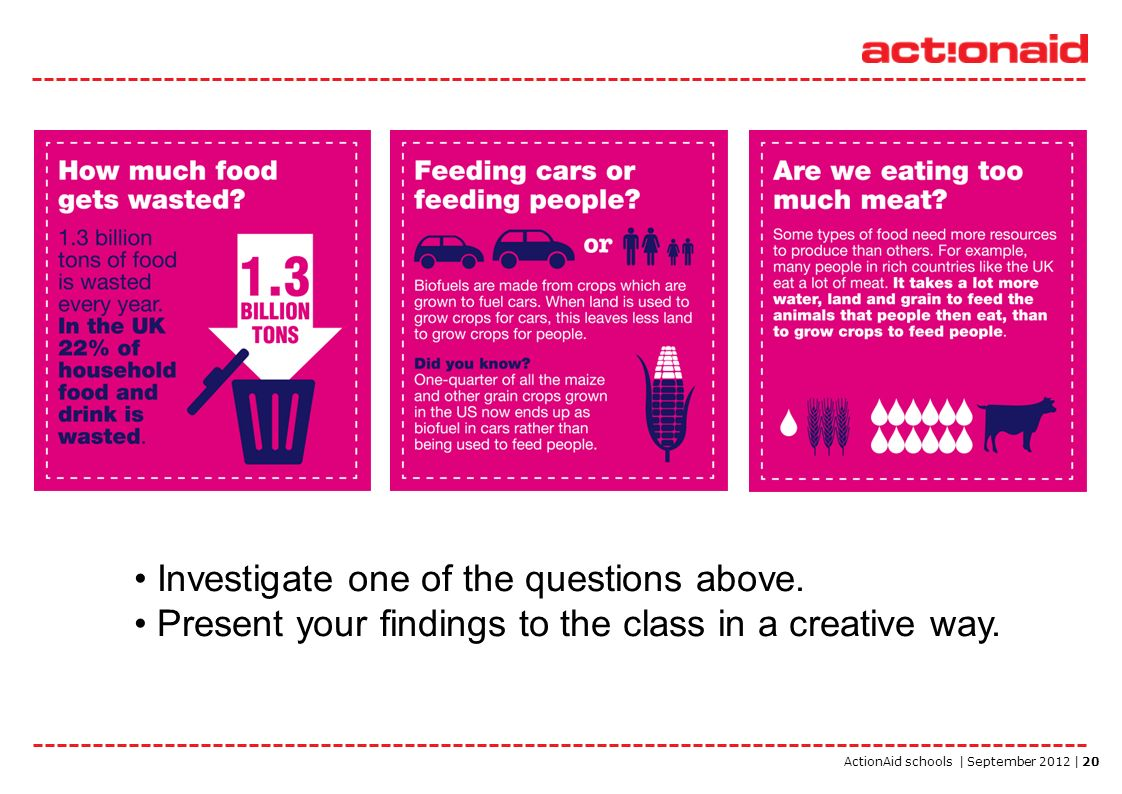 ActionAid schools | September 2012 | 20 Investigate one of the questions above. Present your findings to the class in a creative way.