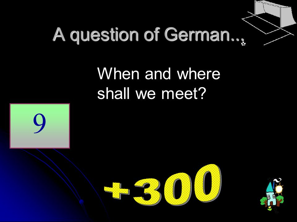 A question of German... 9 When and where shall we meet?