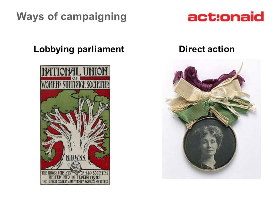 Ways of campaigning Lobbying parliamentDirect action