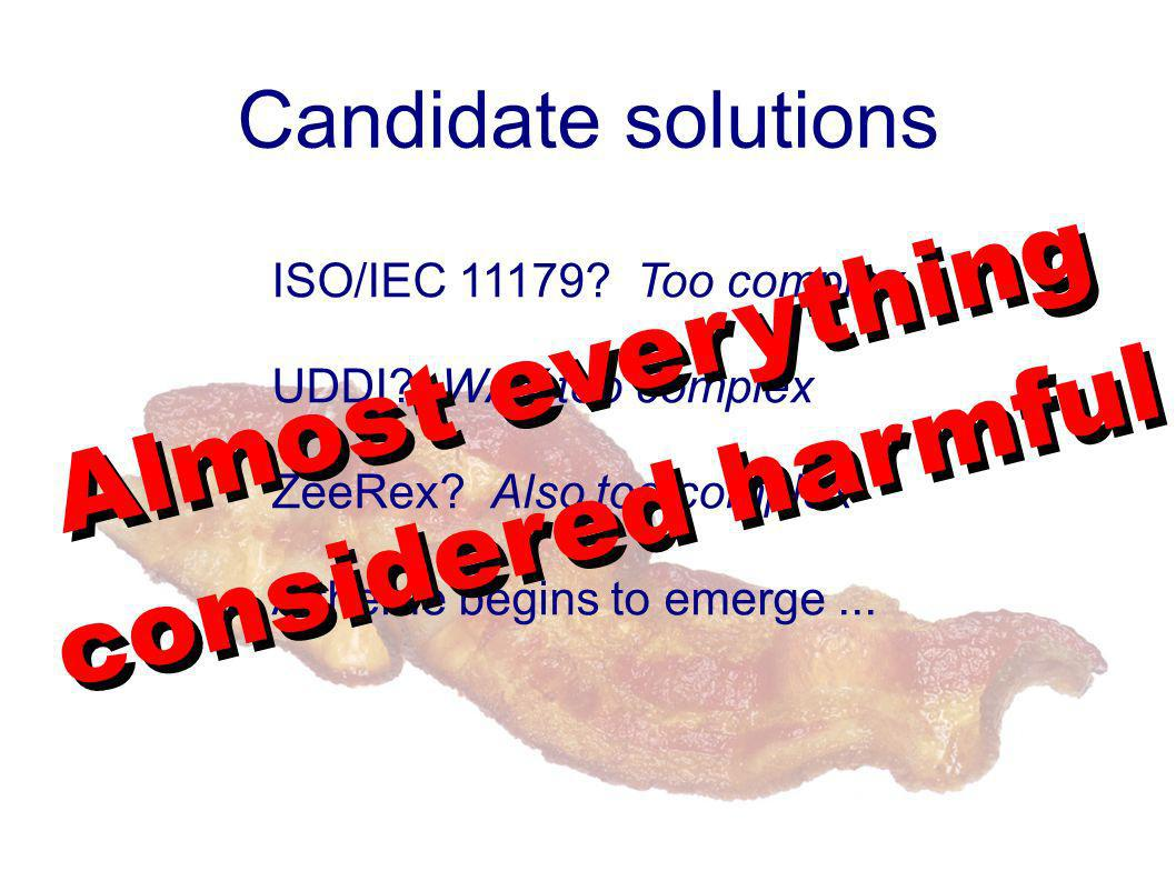 Candidate solutions ISO/IEC 11179? Too complex UDDI? WAY too complex ZeeRex? Also too complex A theme begins to emerge... Almost everything considered