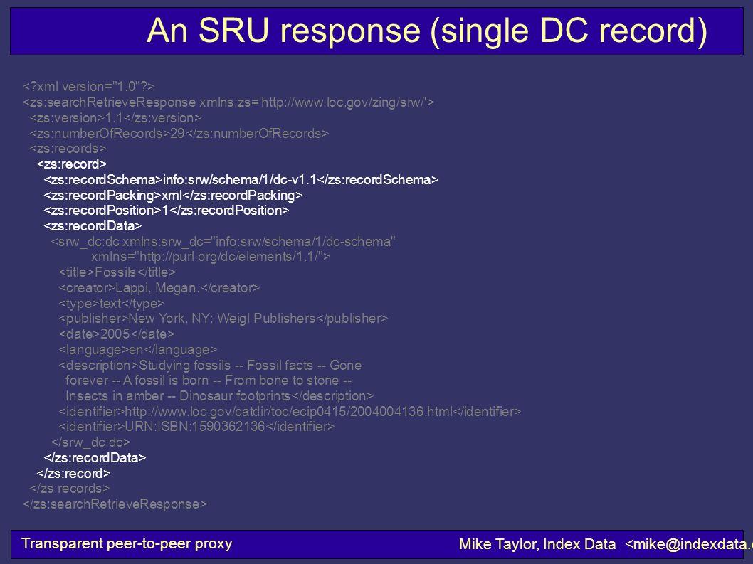An SRU response (single DC record) Transparent peer-to-peer proxy Mike Taylor, Index Data 1.1 29 info:srw/schema/1/dc-v1.1 xml 1 <srw_dc:dc xmlns:srw_dc= info:srw/schema/1/dc-schema xmlns= http://purl.org/dc/elements/1.1/ > Fossils Lappi, Megan.