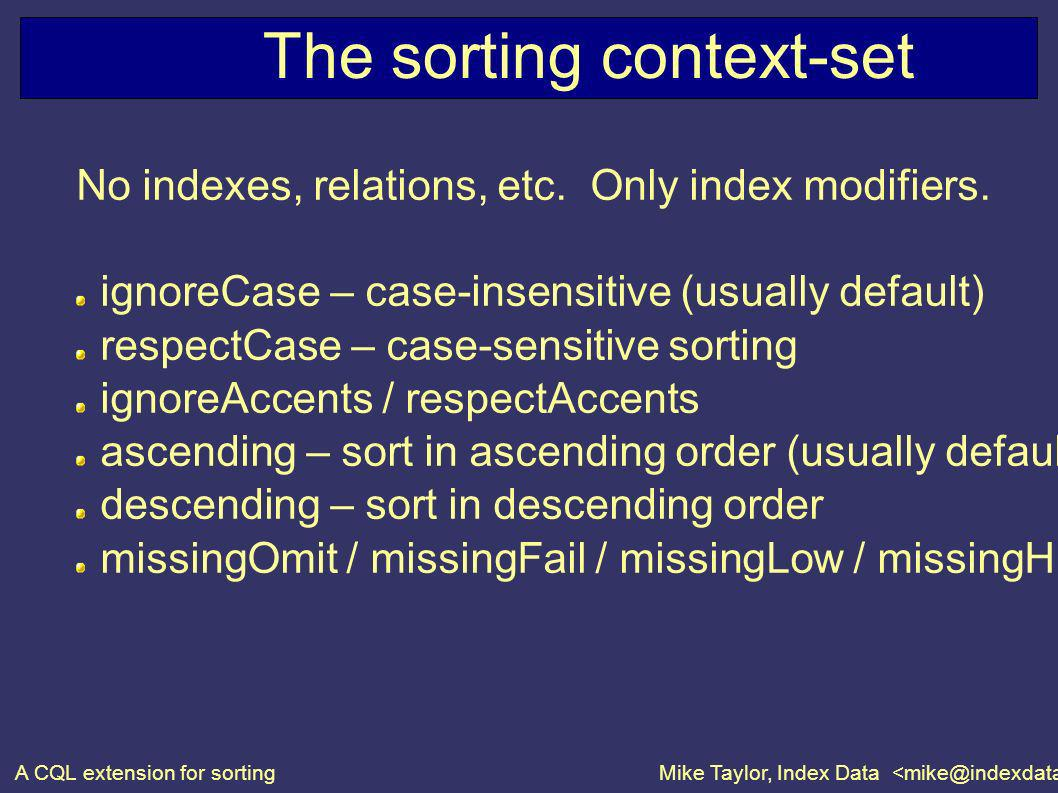 A CQL extension for sortingMike Taylor, Index Data The sorting context-set No indexes, relations, etc.