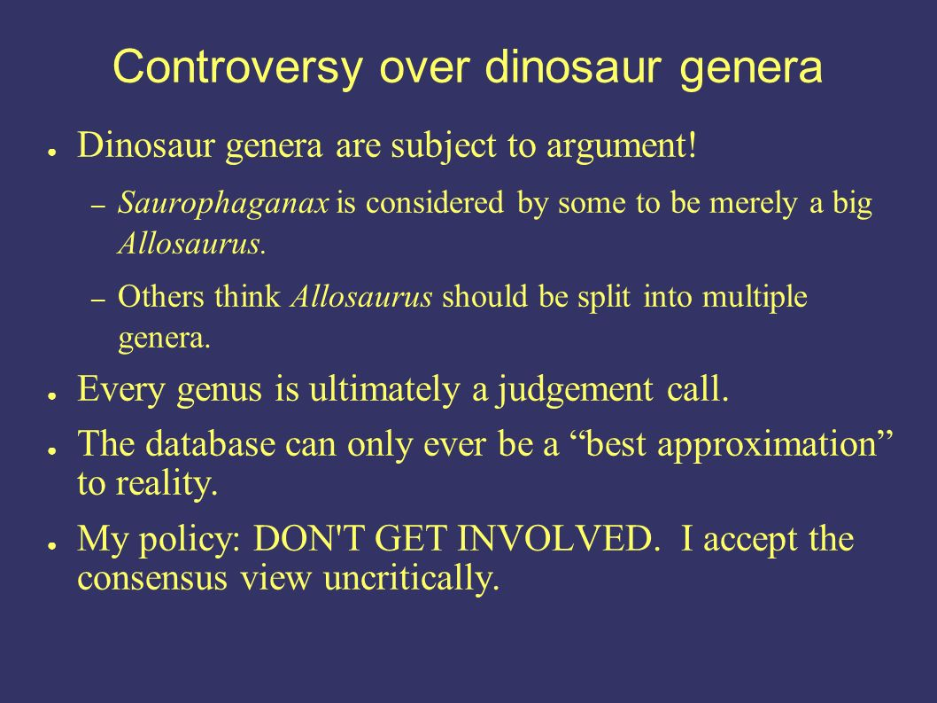 Controversy over dinosaur genera Dinosaur genera are subject to argument.