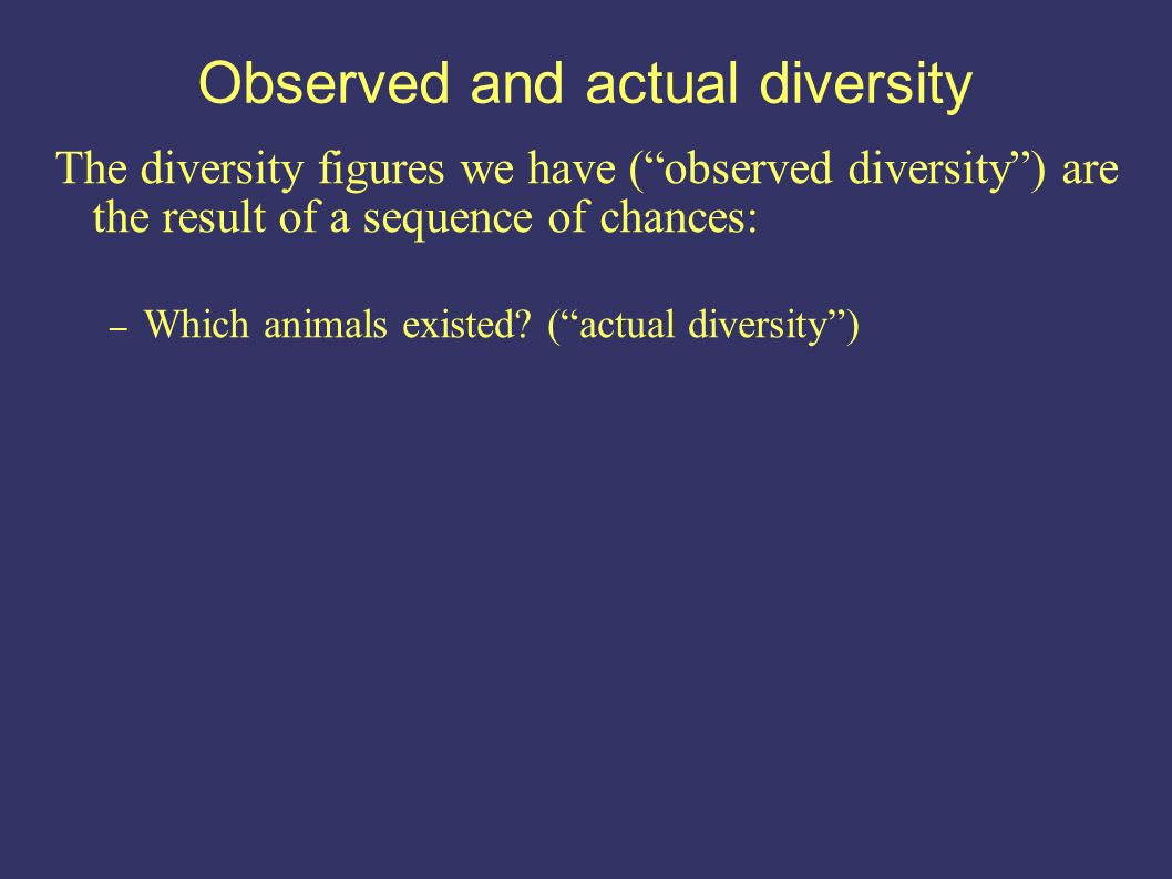 Observed and actual diversity – Which animals existed.