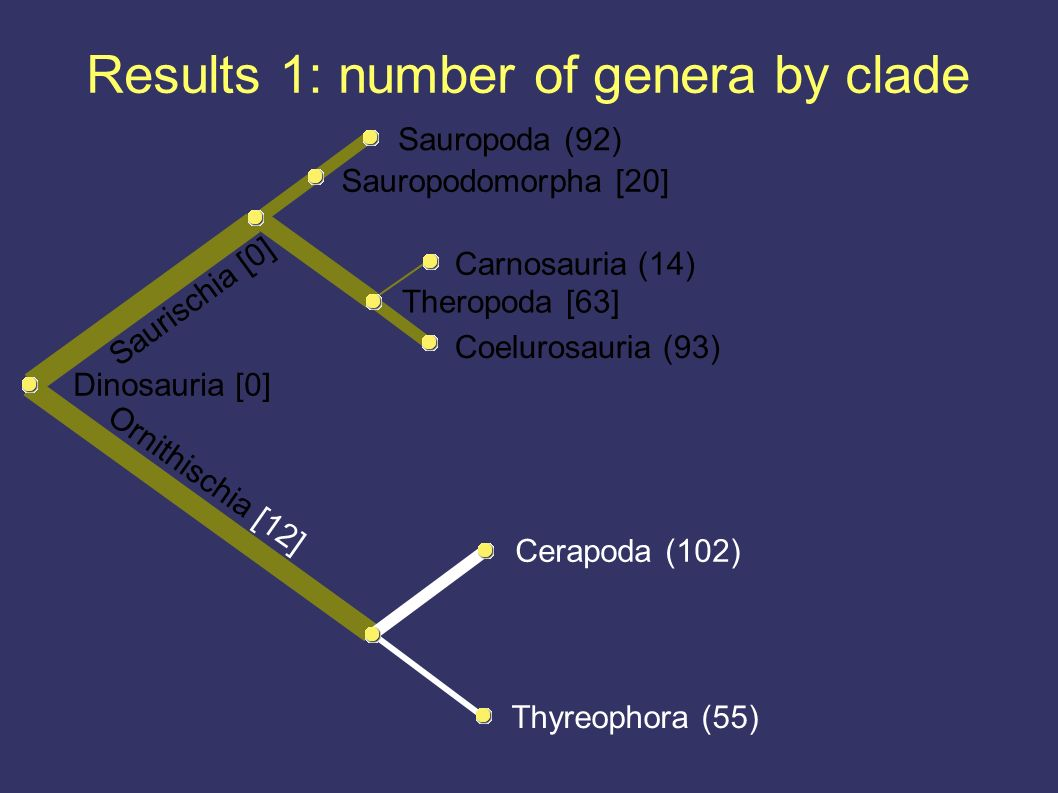 Results 1: number of genera by clade Thyreophora (55) Ornithischia [12] Cerapoda (102) Dinosauria [0] Coelurosauria (93) Theropoda [63] Carnosauria (14) Saurischia [0] Sauropodomorpha [20] Sauropoda (92)