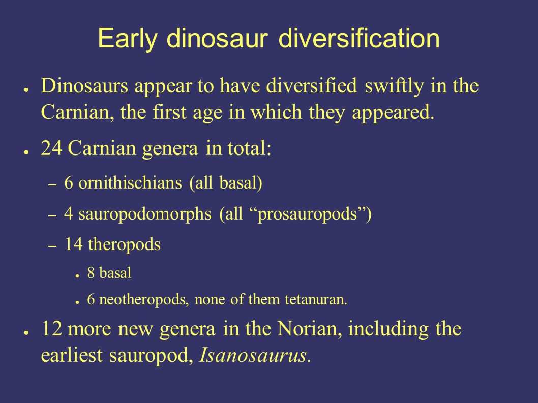 Early dinosaur diversification Dinosaurs appear to have diversified swiftly in the Carnian, the first age in which they appeared.