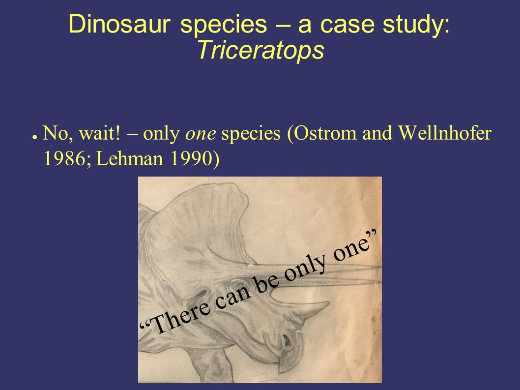 Dinosaur species – a case study: Triceratops No, wait.