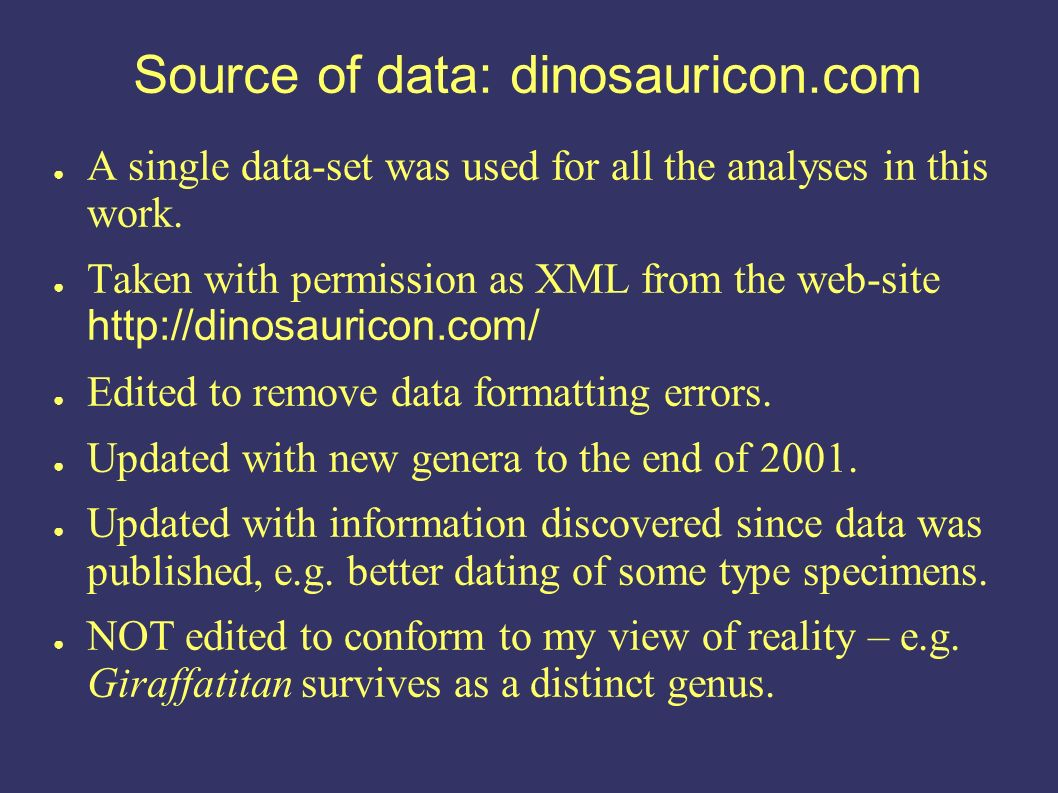 Source of data: dinosauricon.com A single data-set was used for all the analyses in this work.
