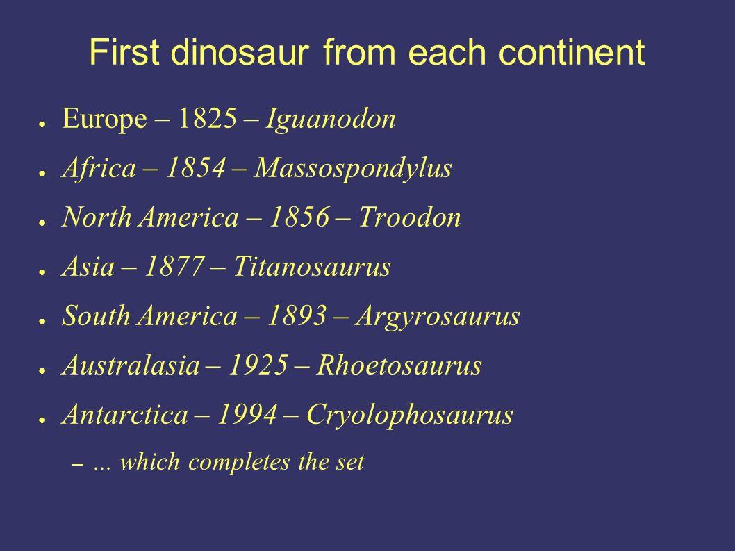 Europe – 1825 – Iguanodon Africa – 1854 – Massospondylus North America – 1856 – Troodon Asia – 1877 – Titanosaurus South America – 1893 – Argyrosaurus