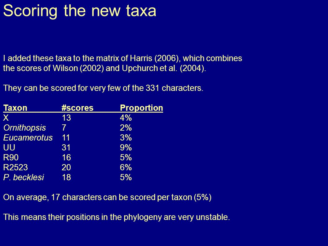 Scoring the new taxa I added these taxa to the matrix of Harris (2006), which combines the scores of Wilson (2002) and Upchurch et al.