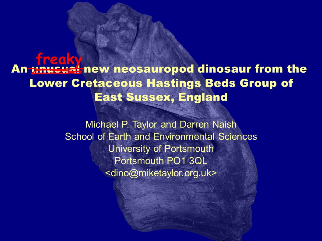 An unusual new neosauropod dinosaur from the Lower Cretaceous Hastings Beds Group of East Sussex, England Michael P. Taylor and Darren Naish School of