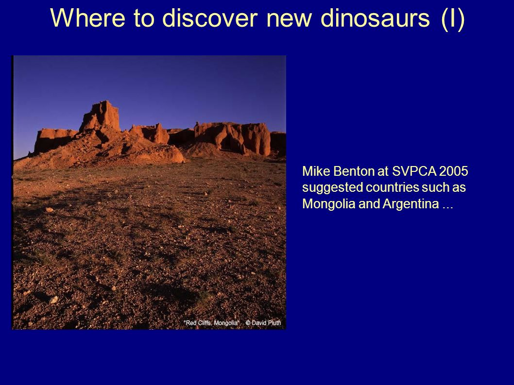 Where to discover new dinosaurs (I) Mike Benton at SVPCA 2005 suggested countries such as Mongolia and Argentina...