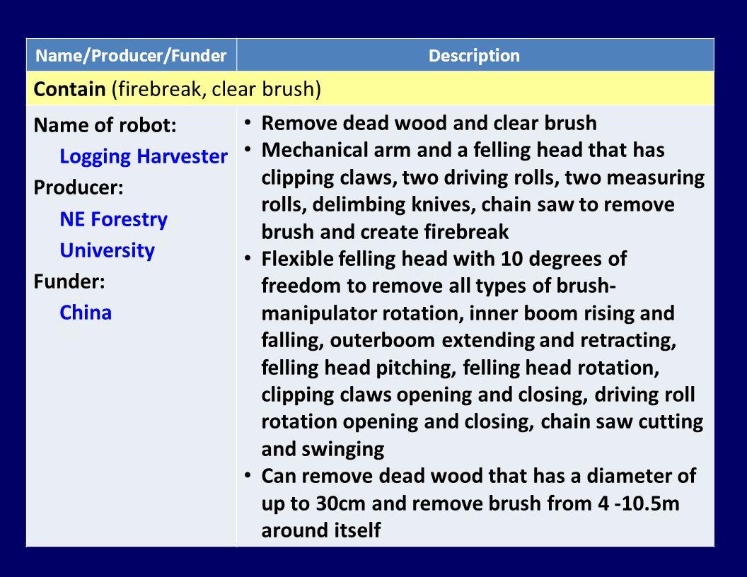 Name/Producer/FunderDescription Contain (firebreak, clear brush) Name of robot: Logging Harvester Producer: NE Forestry University Funder: China Remov