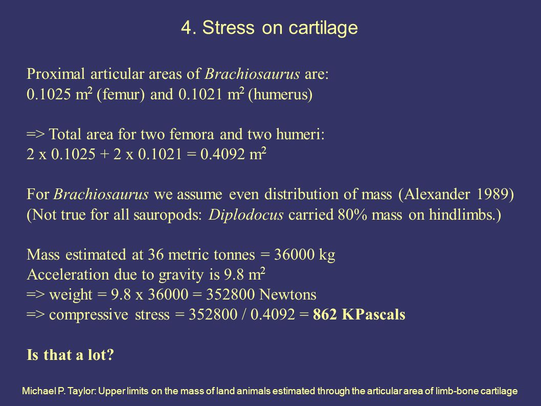 Michael P. Taylor: Upper limits on the mass of land animals estimated through the articular area of limb-bone cartilage 4. Stress on cartilage Proxima