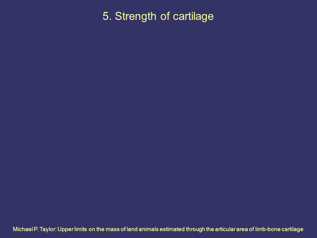Michael P. Taylor: Upper limits on the mass of land animals estimated through the articular area of limb-bone cartilage 5. Strength of cartilage